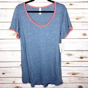 Lularoe Classic T blue and red t-shirt high low